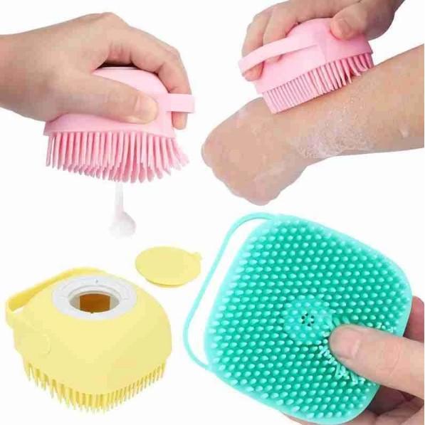 Bàn chải tắm silicon tạo bọt mềm mại, gội đầu, tẩy da chết, massage cơ thể, phù hợp cho bé yêu
