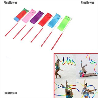 Plusflower Gym Dance Ribbon Gymnastics Art Ballet Streamer Twirling Rod Outdoor Sport 2M