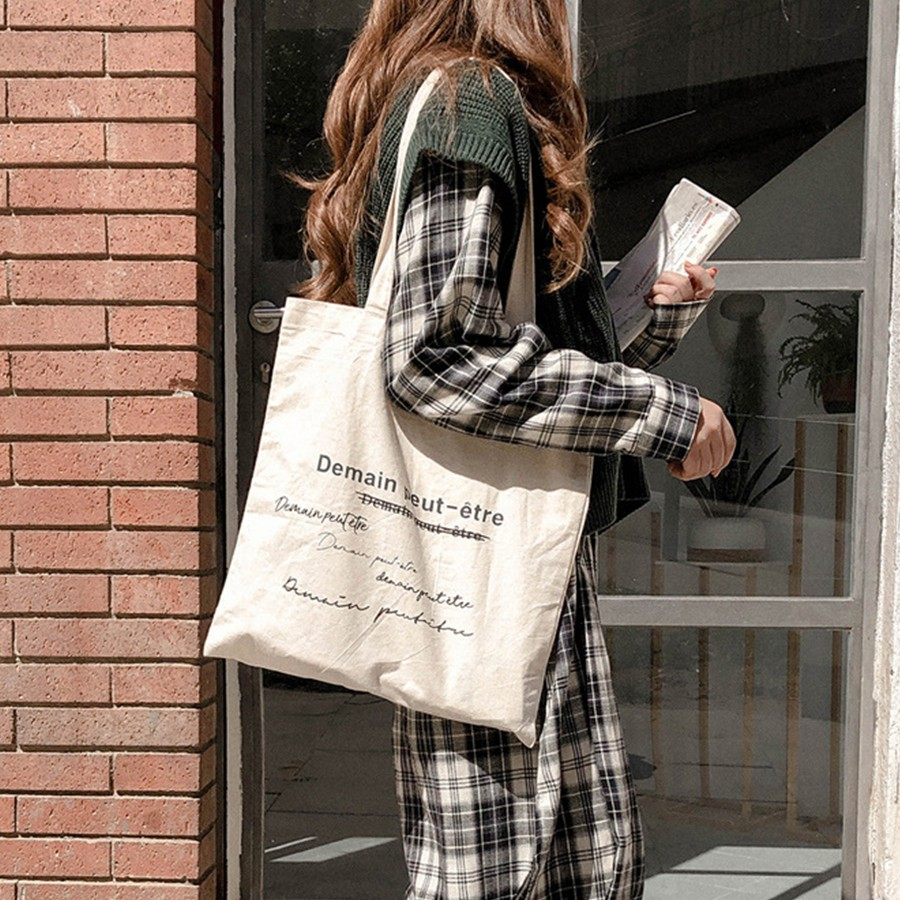 Túi tote vải canvas Chữ Demain phong cách vintage Hàn Quốc