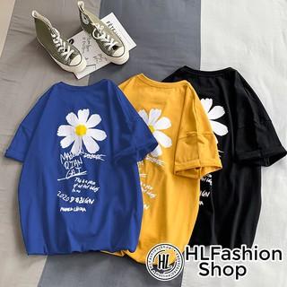 Áo thun tay lỡ hoa cúc nhỏ in trước và sau xinh xắn, áo phông form rộng HLFashion thumbnail