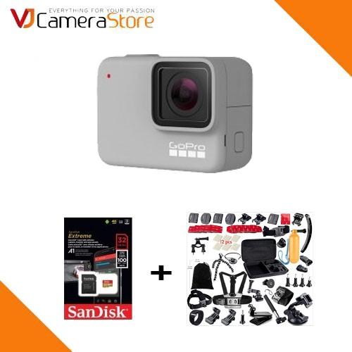 Máy quay GoPro Hero 7 (White) - Chính hãng, tặng kèm thẻ 32gb/100mb, bộ phụ kiện 21 món cho gopro