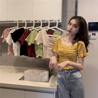 Áo Sweater Tay Ngắn Cổ Vuông Phối Bèo Nhún Dễ Thương