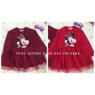 Váy HM Minnie nỉ cá chân ren 2 màu đỏ tươi và đỏ đô cho bé gái 2/3y đến 9/10y