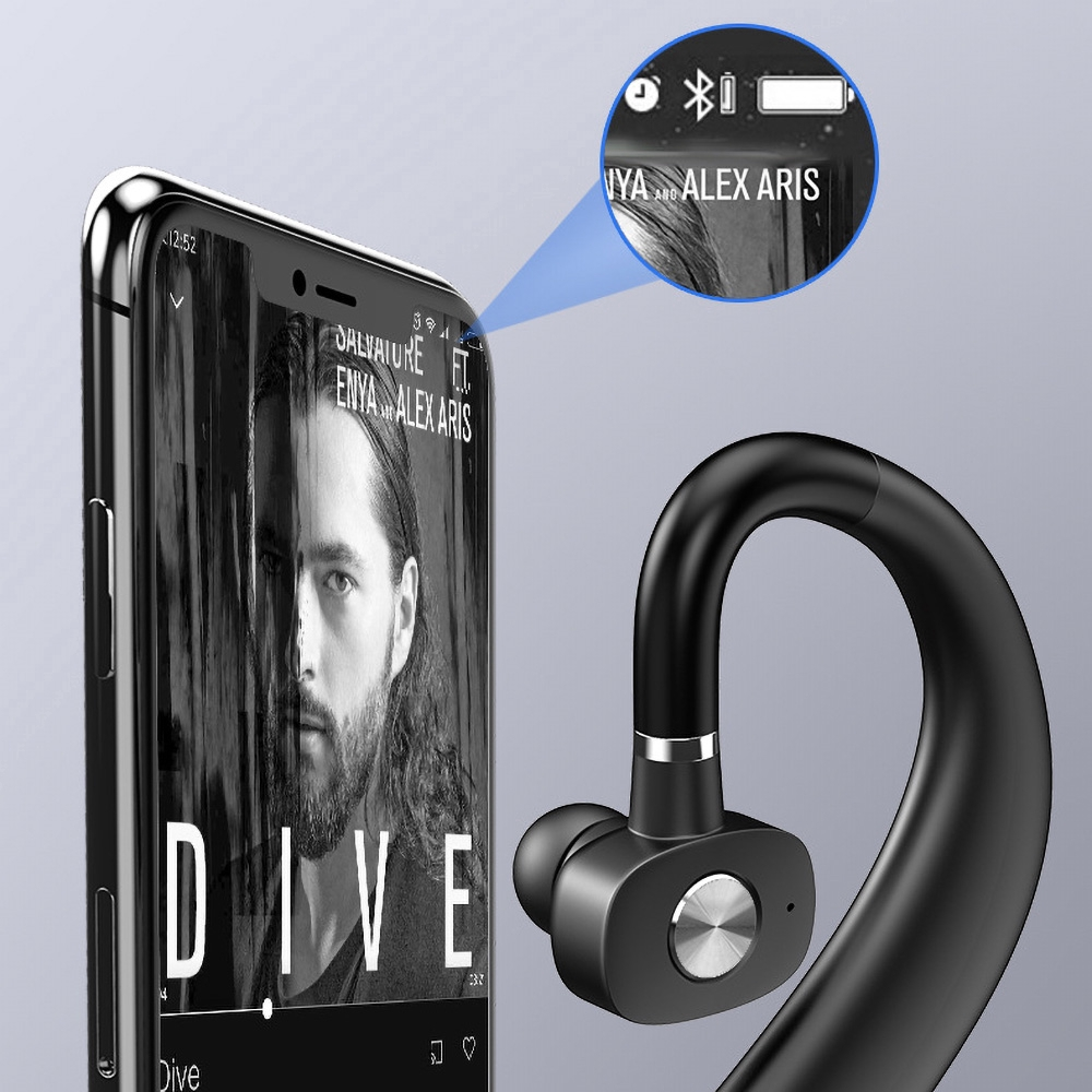 Bluetooth Headset Wireless Hanging Earphone In-Ear Business Handsfree Single Headphone For Android iPhone
