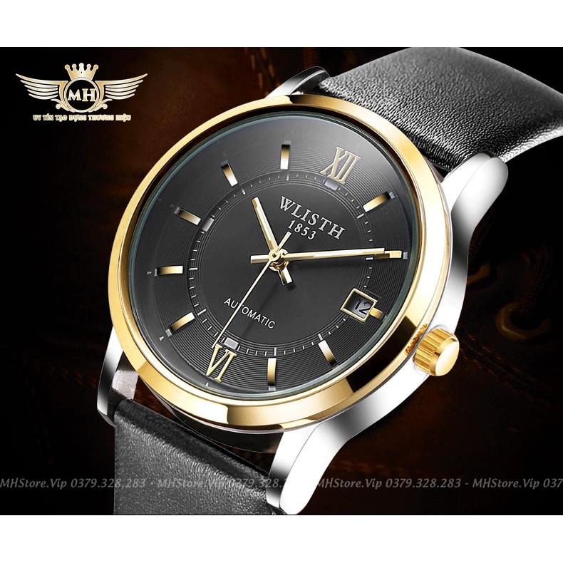 Đồng hồ nam WLISTH máy cơ, Dây Da Cao Cấp, Chống Nước, Chống Xước + Tặng kèm vòng tay may mắn