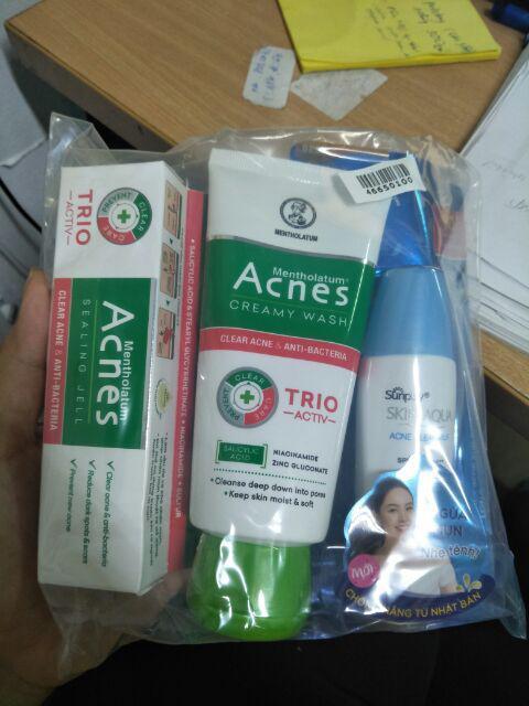 Đánh giá sản phẩm Bộ sản phẩm chống nắng ngừa mụn Sunplay Acnes (Sữa chống nắng 25g + Kem rửa mặt 100g + Dung dịch 90ml + Gel ngừa mụn 18g của l*****i
