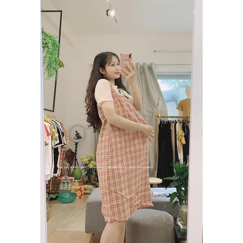 Mặc gì đẹp: Dễ chịu với Váy Bầu Công Sở Đầm Bầu Dáng Suông Họa Tiết Kẻ Nhỏ Nơ Cổ Siêu Sang Freesize từ 40-80kg