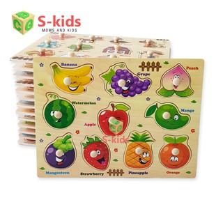 Đồ Chơi Gỗ Thông Minh S-Kids, Bảng ghép hình núm gỗ. Đồ chơi xếp hình thông minh cho bé. thumbnail