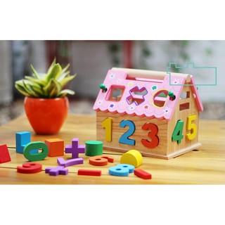 Đồ chơi gỗ- Nhà thả hình, số mái hồng