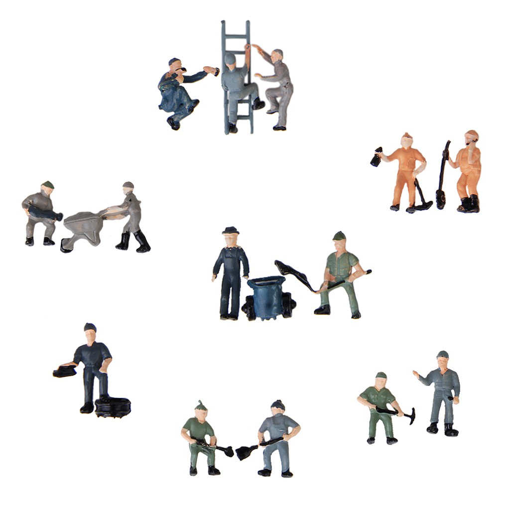 25pcs 1:87 HO Scale Miniature People Model Worker Figurines for Model Train Diorama Scenery DIY Accessories, Assorted