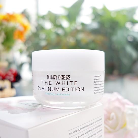 Kem Dưỡng Trắng Da Milky Dress The White Platinum Edition - 2581236 , 45635933 , 322_45635933 , 595000 , Kem-Duong-Trang-Da-Milky-Dress-The-White-Platinum-Edition-322_45635933 , shopee.vn , Kem Dưỡng Trắng Da Milky Dress The White Platinum Edition