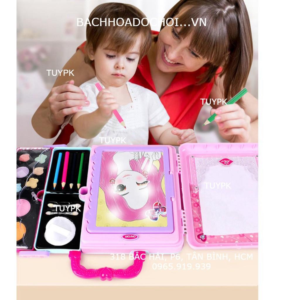 Bảng đèn vẽ cho bé gái, Tập Trang Điểm, Đồ Chơi make up Xách Tay Hộp Đựng Mỹ Phẩm