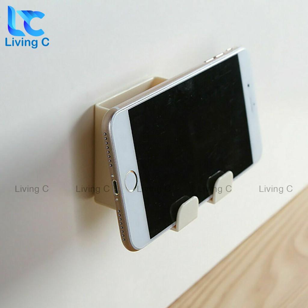 Giá kệ đựng remote điều khiển Living C, hộp để điện thoại khi sạc dán tường đa năng _R25