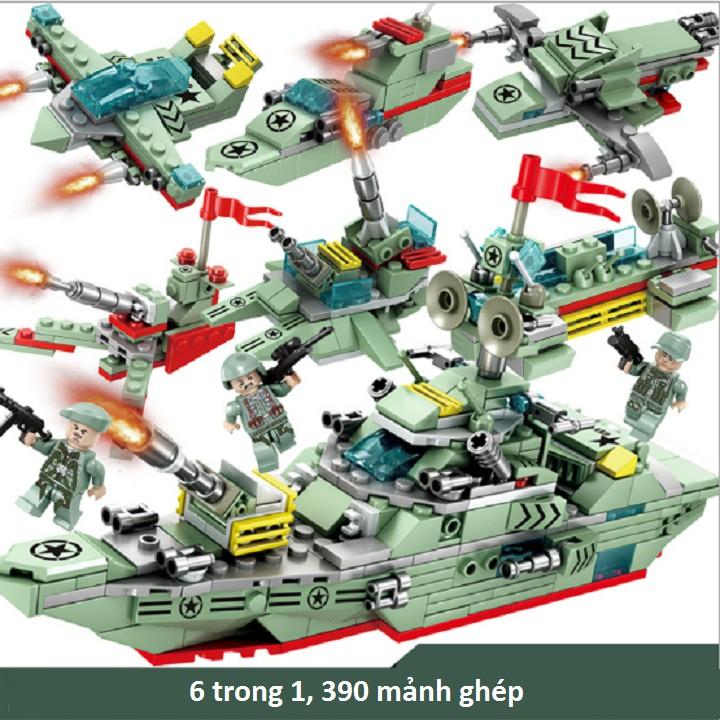 Combo 6 hộp rời Bộ đồ chơi lắp ráp tàu chiến Mindy Military Combat K032