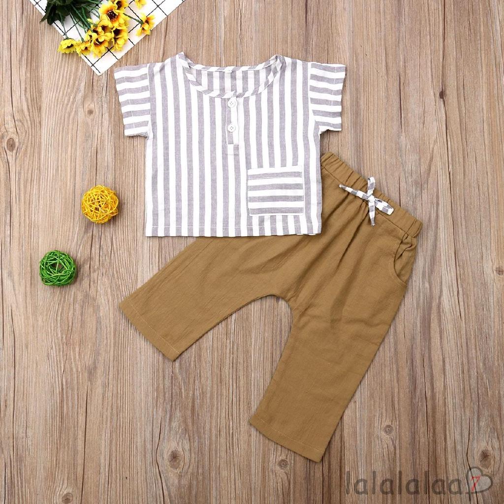 ❆☉❆Summer Girl Short Sleeve Striped T-shirt + Loose Harem Pant