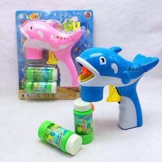 Súng bắn bong bóng hình cá heo cho bé 2 màu xinh xắn