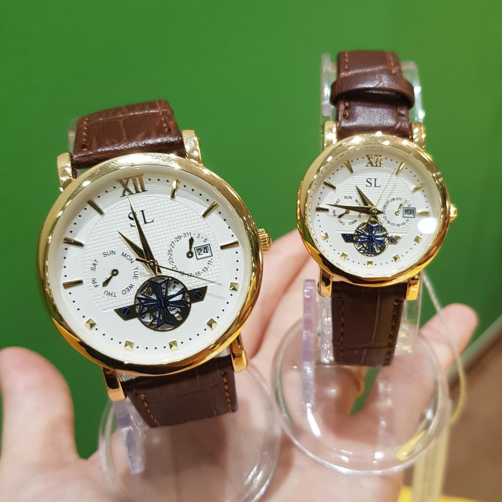 Đồng hồ cặp đôi nam nữ SL dây da viền vàng lộ máy chống nước chính hãng giá rẻ Tony Watch 68