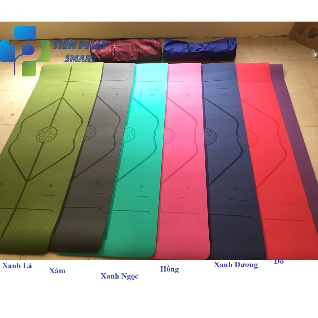 Thảm yoga định tuyến 8mm 1 Lớp TPE Cao Cấp( Tặng Kèm Túi Đựng 100k và Dây Buộc )