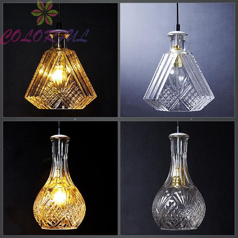 Elegant Decor Light Holder Ceiling Loft Crystal Vintage Carved Bottle Transparent Adjustable Decoration Hanging lamp