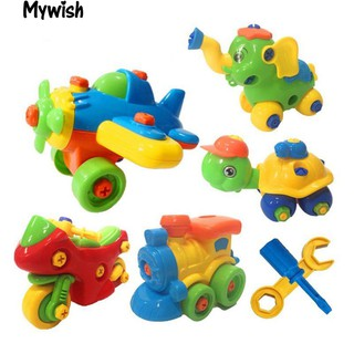 👶🏼Cartoon Animal Aircraft Car Kids DIY Assembling Mini Model Educational Toy