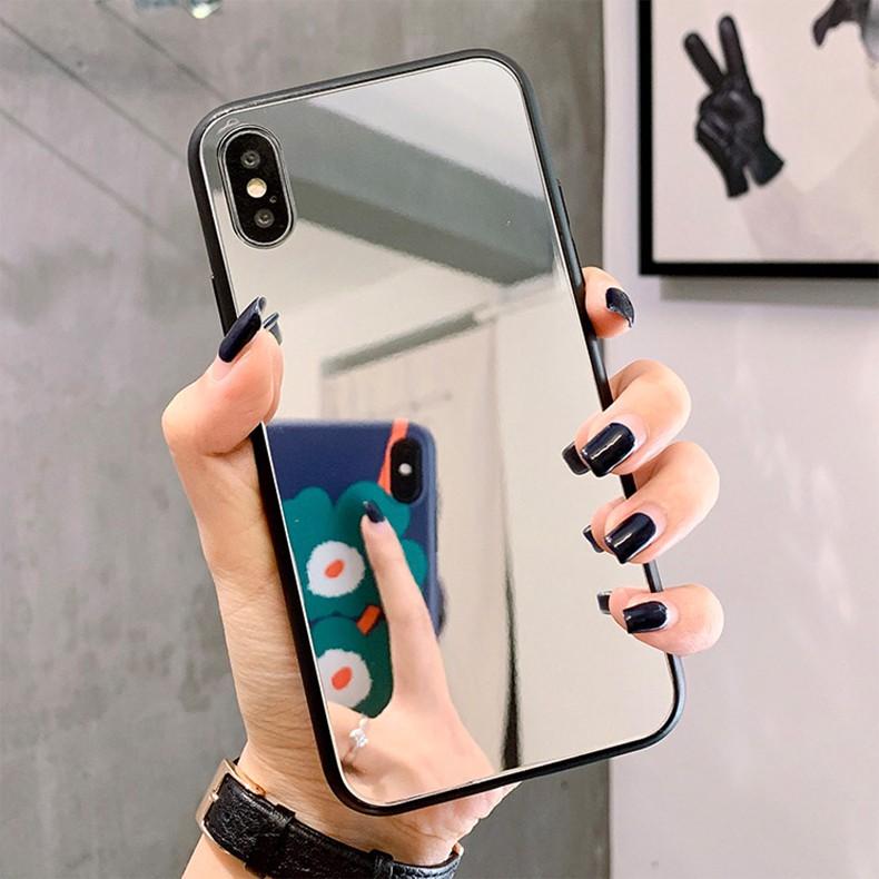Samsung A21S A01 A11 M11 Note 20 10 Plus 9 8 A10 A20 A30 A30S A50 A50S A70 Ốp Lưng Tráng Gương Có Nhẫn Giá Đỡ Xinh Xắn Cho