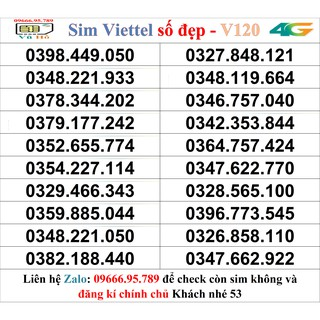 Sim Viettel V120 đầu 09 số đẹp giá rẻ 53