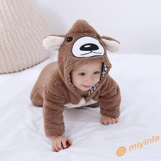Bộ áo liền quần có mũ hình gấu xinh xắn dành cho bé