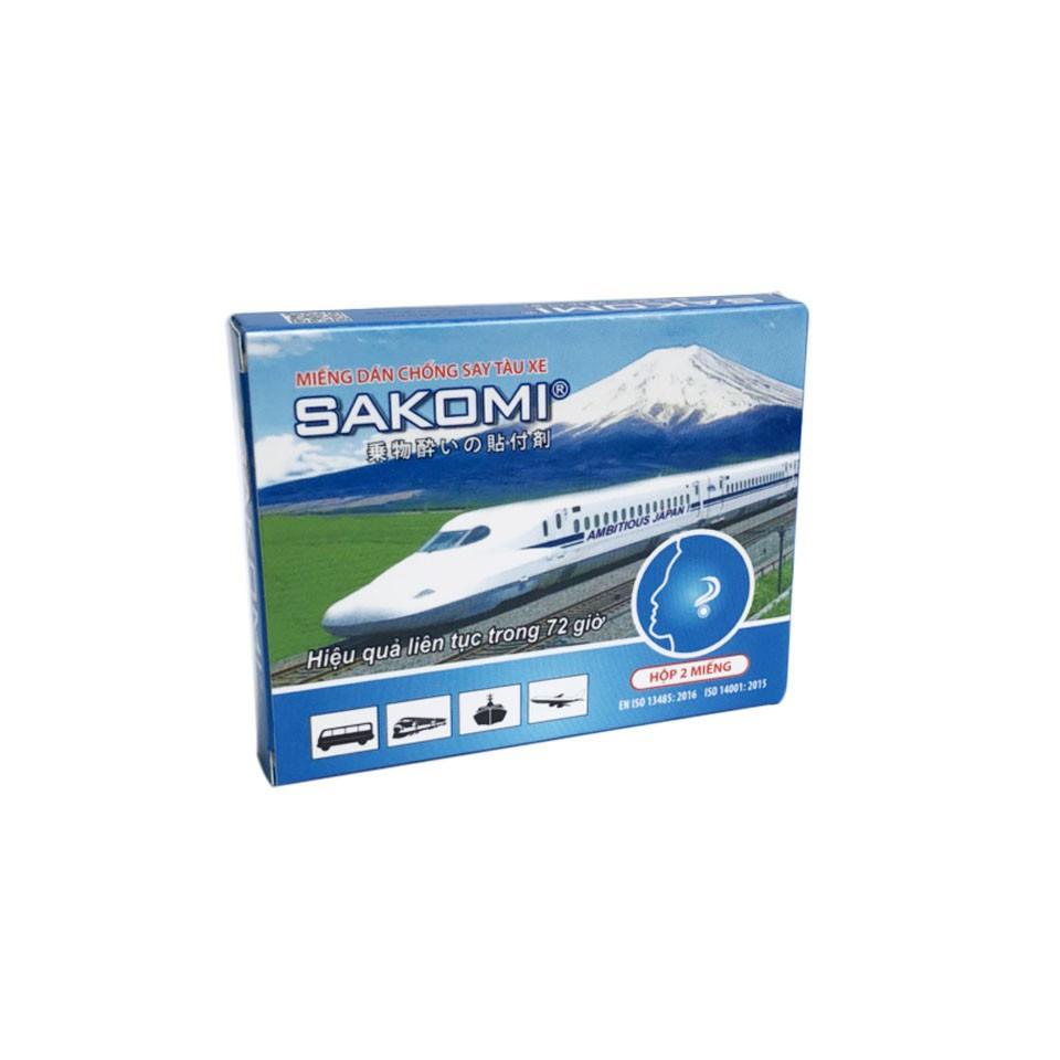 Miếng dán chống say tàu xe Sakomi - Hộp 2 miếng