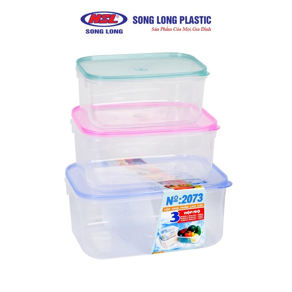 Bộ lạnh bầu 3 hộp nhựa 1650ml, 1200ml,600 ml đựng thực phẩm có nắp Song Long Plastic - 2073