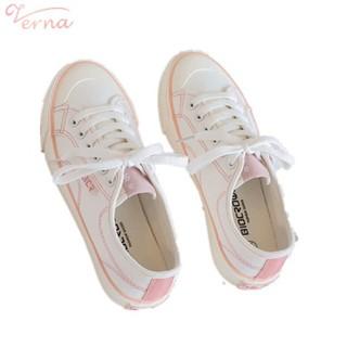 Verna Giày vải canvas màu trắng nhỏ phong cách Hàn Quốc mùa xuân thu 2021 dành cho nữ Verna