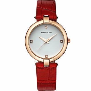 Đồng hồ nữ SANDA P196 dây da cao cấp (2 màu dây) + Tặng vòng tay phong thủy may mắn phát tài