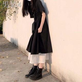 ♝Mùa hè phong cách mới đại học kiểu váy ngắn tay nữ sinh phiên bản Hàn Quốc rộng rãi và mỏng veo eo dài chữ A