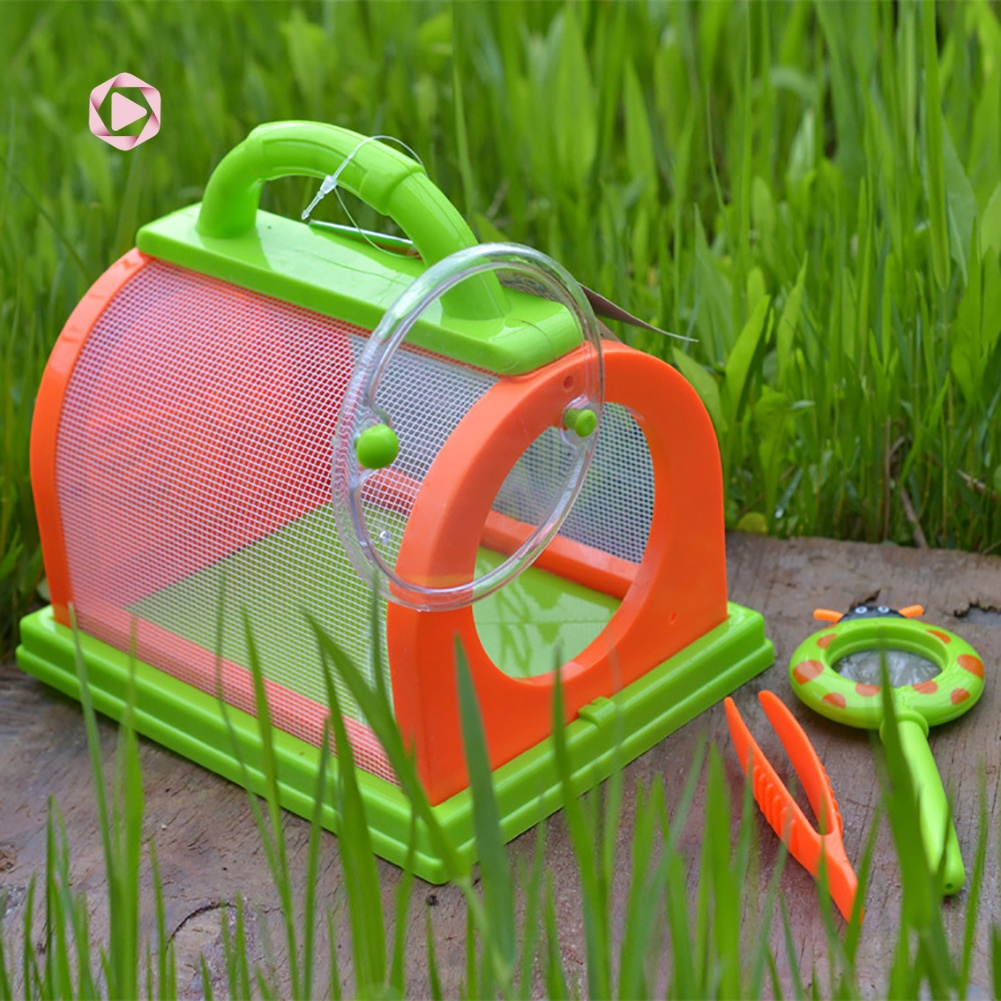 COD| Kids Insect Bug Cage with Tweezers Magnifier Backyard Exploration Critter Toy
