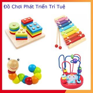 Combo 4 món đồ chơi – Luồn hạt – Sâu gỗ – Đàn gỗ 8 thanh – Tháp cầu vồng – giúp bé phát triển trí thông minh
