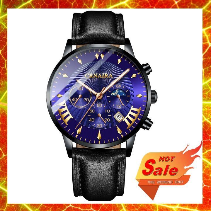 Đồng hồ nam CRNAIRA phong cách thời thượng, mặt tròn, 6 kim, lịch ngày, chống nước, mặt xanh dương, dây da