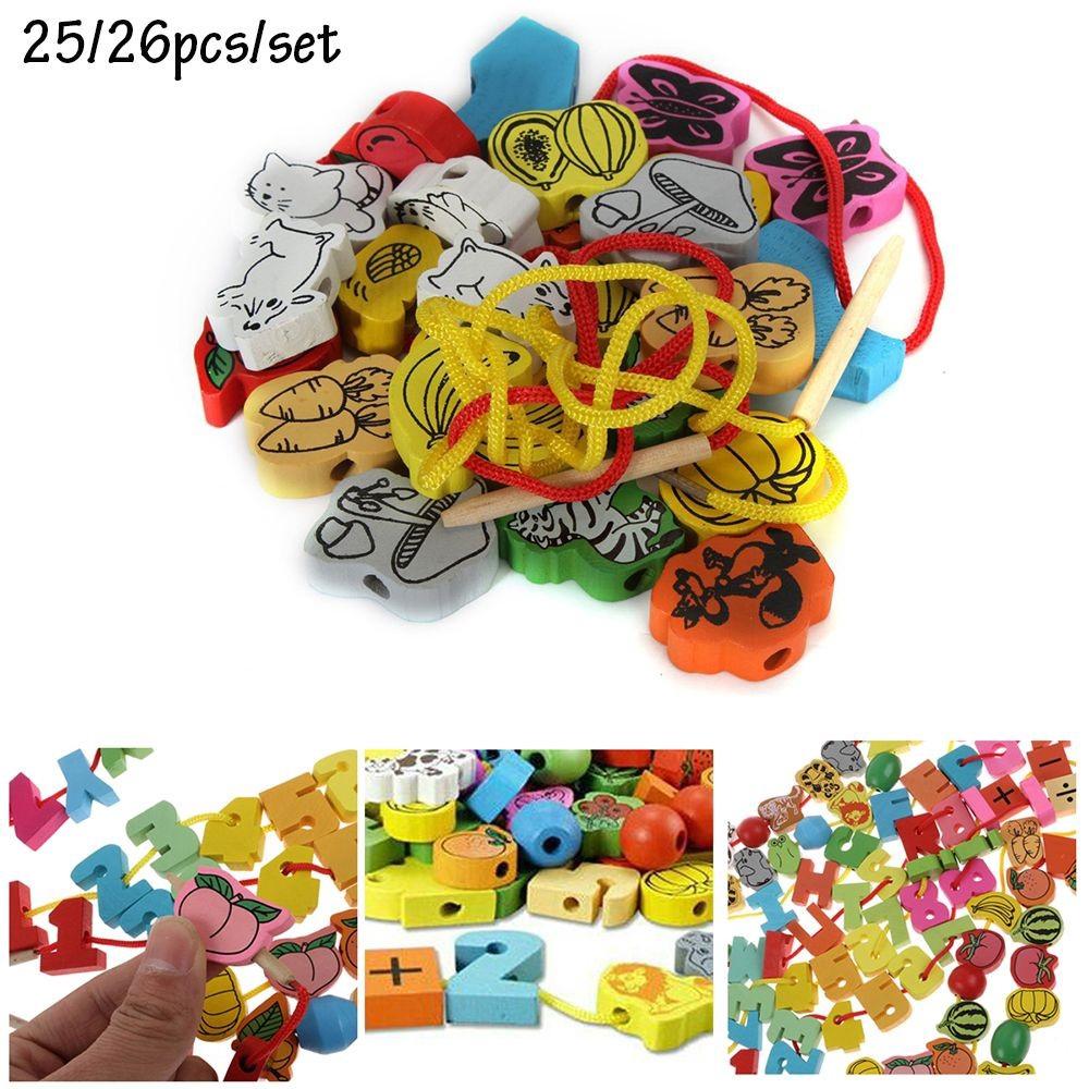 Xâu chuỗi chữ số, trái cây, thú đồ chơi bằng gỗ cho bé