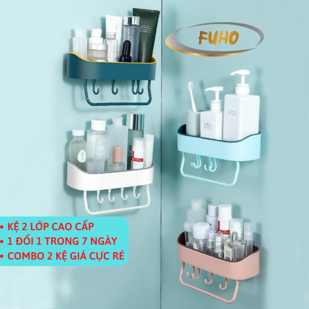Kệ nhà tắm treo tường 2 lớp FUHO để đựng mỹ phẩm và đồ dùng nhà tắm làm từ nhựa ABS(KNT)