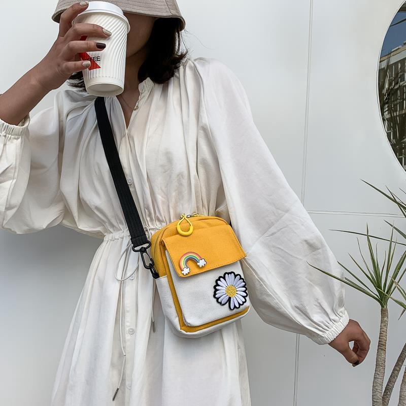 Túi xách đeo chéo mini chất liệu vải canvas phong cách Nhật Bản xinh xắn có dây kéo cho nữ