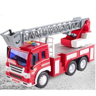 Xe cứu hỏa chạy đà đồ chơi trẻ em mô hình xe có cầu thang rút tỉ lệ 1:16