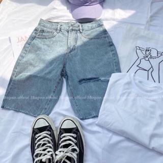 Quần Jeans Ngố Nữ Rách 1 Line