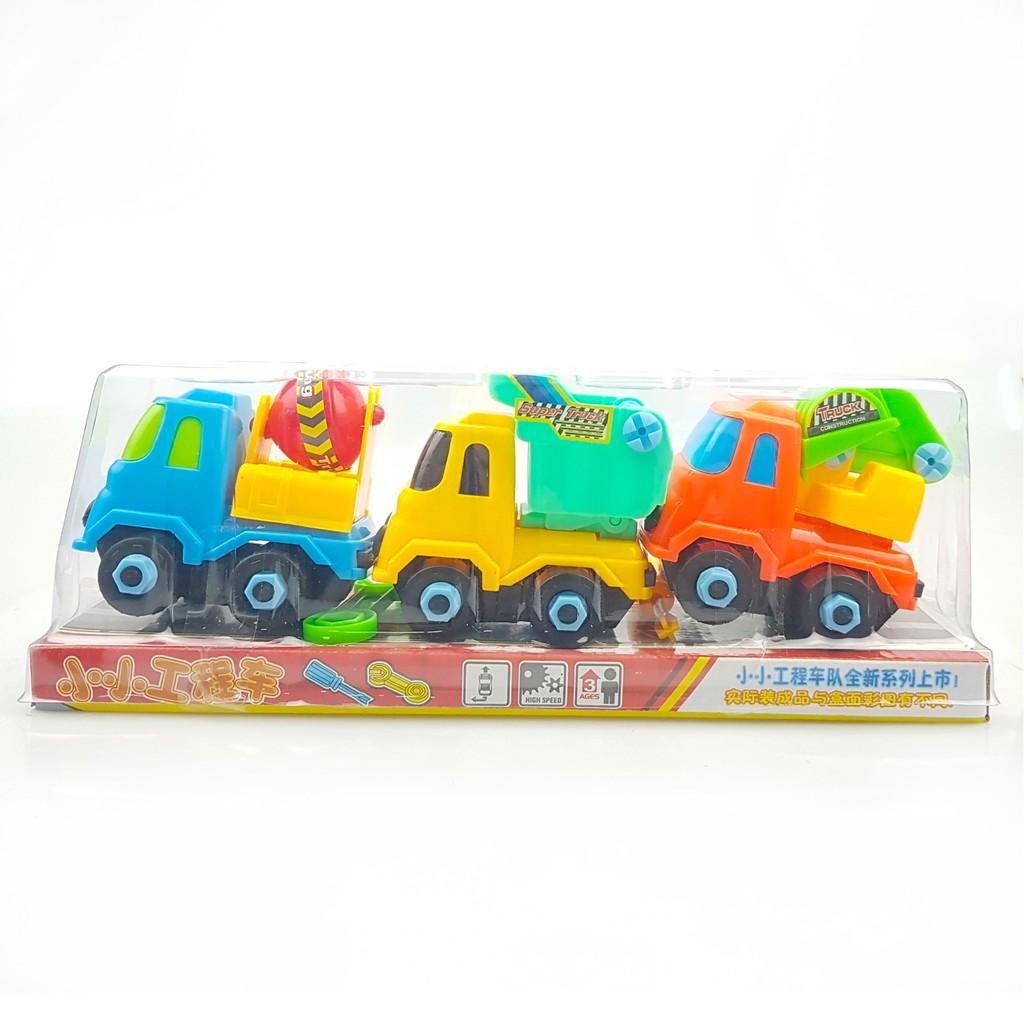 Đồ chơi mô hình ô tô xây dựng công trình màu sắc bắt mắt, chất liệu an toàn, cho bé thỏa sức sáng tạo - Bộ 3 chiếc