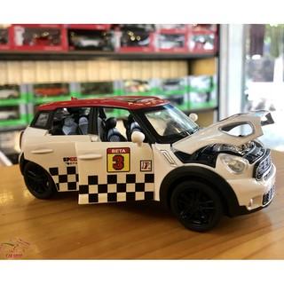Mô hình xe ô tô Mini Countryman tỉ lệ 1:32 màu trắng mui đỏ