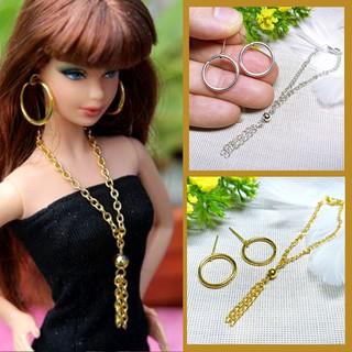 Bộ Trang Sức Búp Bê Barbie Handmade – Vòng cổ, Bông Tai Búp bê Khoen tròn Lớn Mạ Vàng, Bạc Phong cách