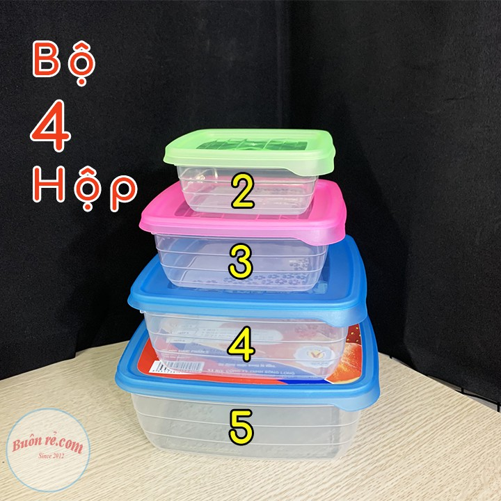 [Mã SKAMA07 giảm 8% tối đa 50K đơn 250K] Bộ 5 hộp nhựa đựng thực phẩm Song Long 2812 giúp bảo quản đồ ăn Buôn Rẻ 01174