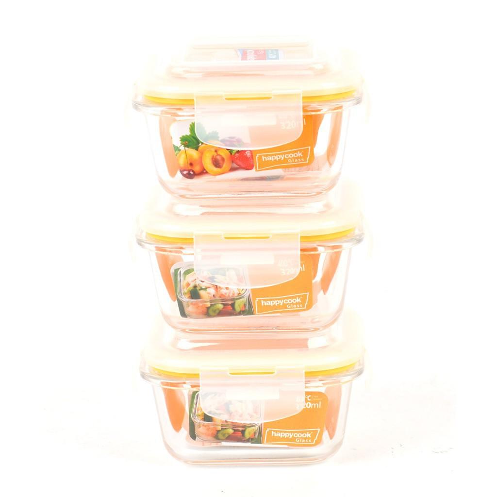 Bộ 3 Hộp Thủy Tinh Hình Vuông 320ml Kèm Túi Giữ Nhiệt Happy Cook Glass HCG-03S1