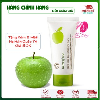 [Sạch 100% - Hàng Auth] Sữa rửa mặt trắng da - sữa rửa mặt trị mụn chiết xuất táo Innisfree Hàn Quốc 150ml