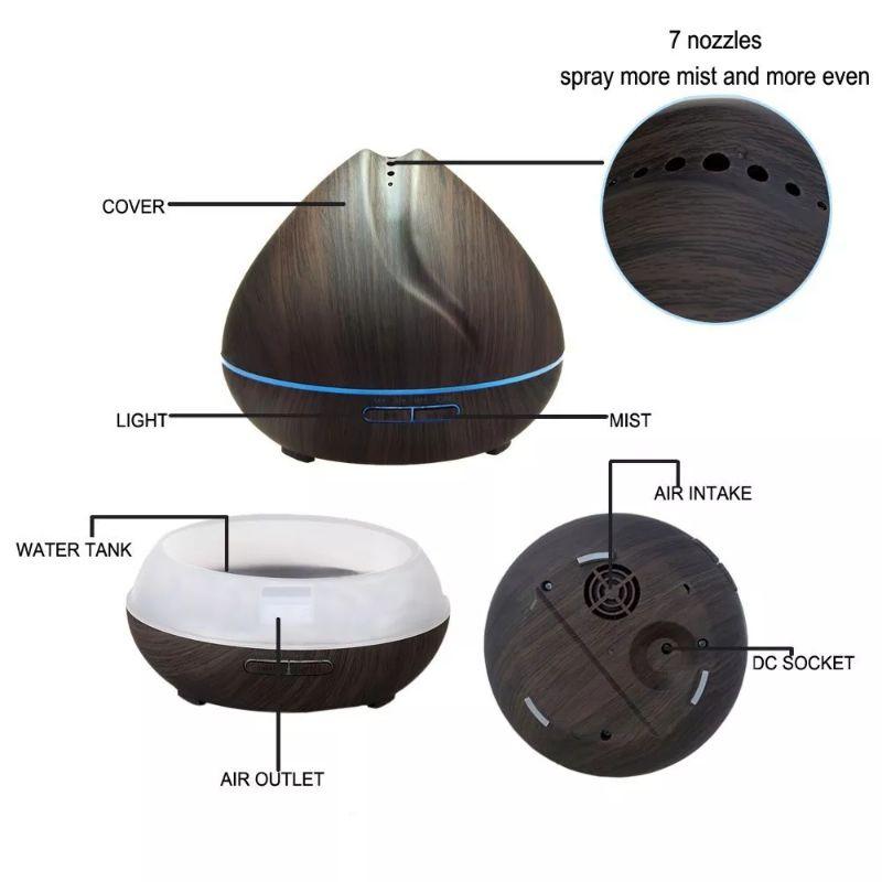 ( Tặng 01 lọ tinh dầu ) Máy phun sương, khuếch tán tinh dầu Búp Sen 550ml , có điều khiển , đèn LED 7 màu, BH 6 THÁNG