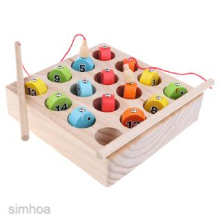 Wooden Magnet Digital Fishing Game Numbers Match Box Kids Educational Toy
