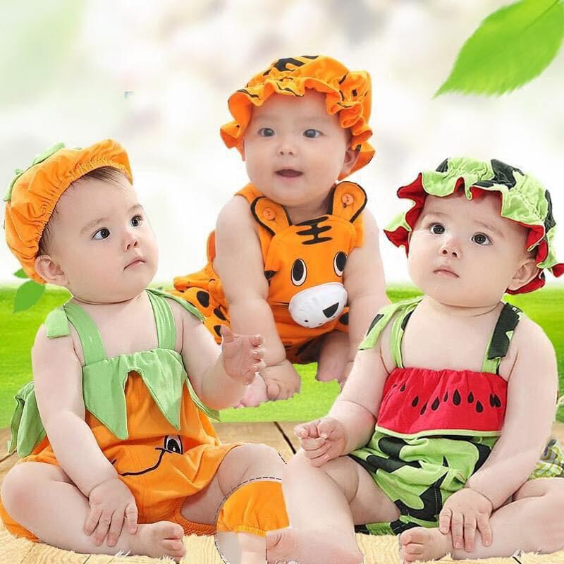 [Mã FAMAYFA2 giảm 10K đơn 50K] Áo liền quần/Bodysuit bộ đồ kèm mũ xinh xắn cho bé trai,bé gái dưa hấu,bí ngô, hổ cam