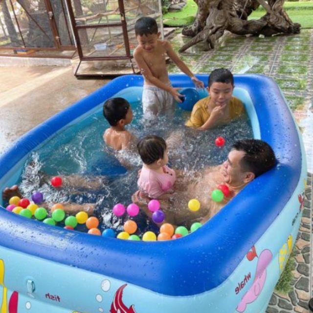 Bể bơi / hồ bơi 3 Tầng 2M1 Size lớn đáy dày chống trượt tặng kèm bộ vá bể + KÈM BƠM ĐIỆN.